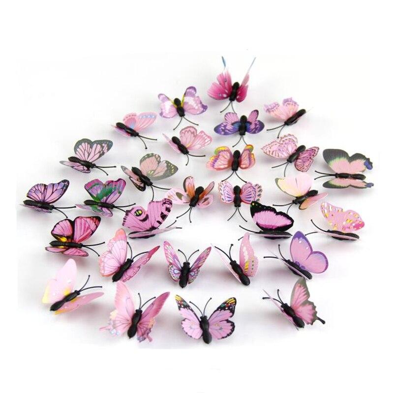 12 st / pack 3D Pink Butterfly väggklistermärken heminredning på väggen DIY konst för sovrum, barnrum eller Holiday bröllopsdekoration