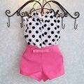 Meninas Set Moda Verão Dot Camisa Conjunto Onda Ponto Superior e calções crianças conjunto de arcos crianças roupas rosa vermelha aile rabbit 2016 nova