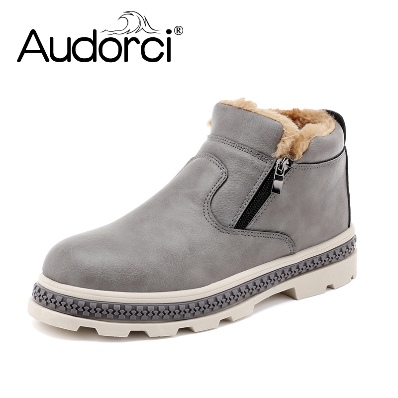 Audorci 2018 Winter Fashion Men's Snow Boots Man Outdoor Keep Warm Ankle Boots Male Lightweight Casual Shoes Size 39-44 With Fur 2017 new lightweight breathable suede mens casual shoes adult keep warm with fur