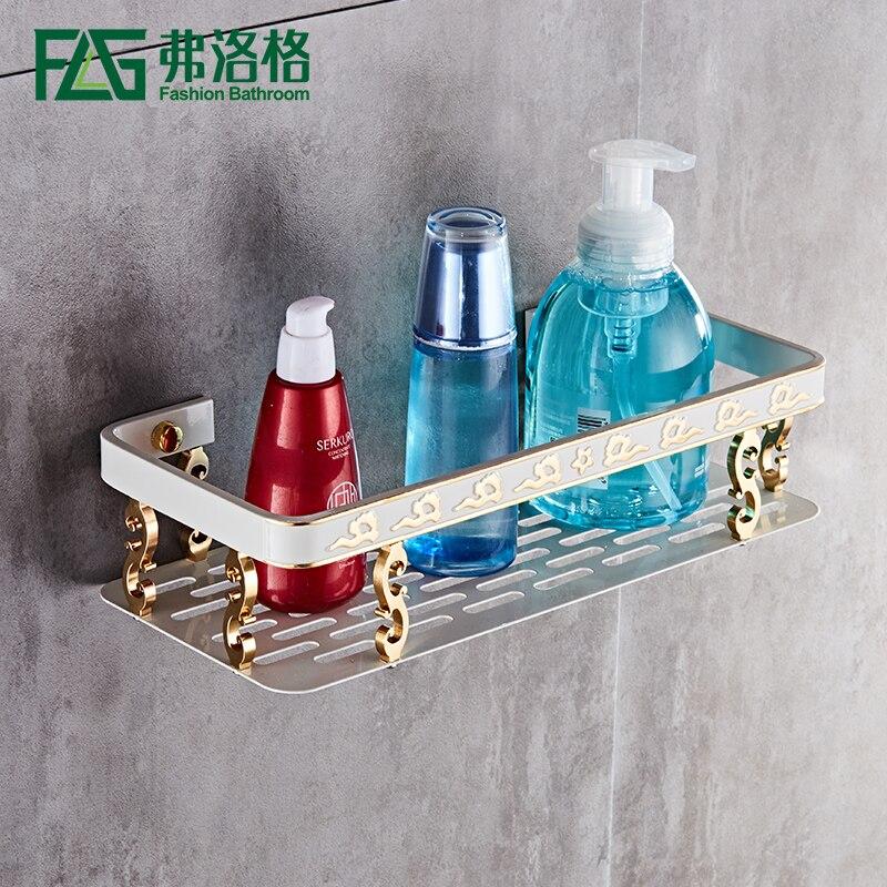 FLG uma Camada única Cremalheira Do Banheiro prateleira cubo Quadrado acessórios do banheiro Prateleira Do Banheiro Cesta de Rack Com