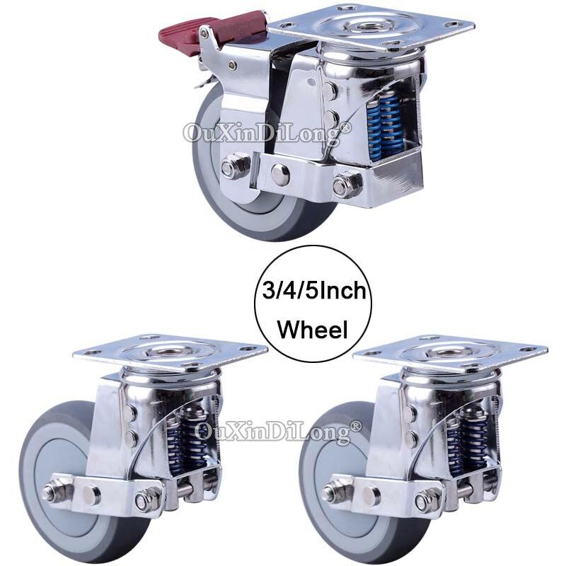 Roulettes antisismiques de ressort de roulettes industrielles de haute qualité de porte d'équipement lourd de 4 pièces avec les coureurs silencieux de rouleaux de roues d'amortissement
