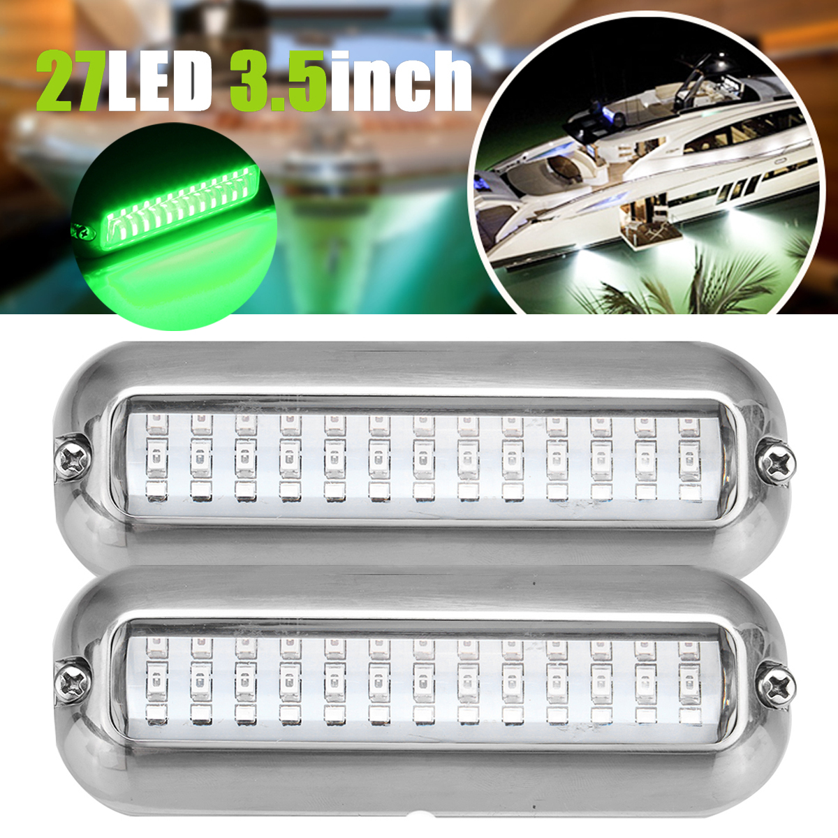 Led Underwater Lights Objective 2pcs Green Led Underwater Fishing Light Fishing Boat Light Attracting Fish Night Luring Lamps For Boats Docks Fishing Tools
