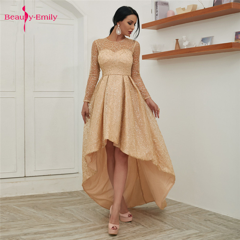 Beauty Emily Sexy Boat Neck Evening Dresses 2019 Ribbons Ruffles Sleeve Front Short Long Back Open Back Prom Gowns Party Dresses
