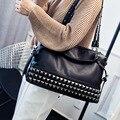 2017 vintage PU leather rivet design shoulder bags women leather luxury handbags ladies crossbody shopping bags bolsa feminina