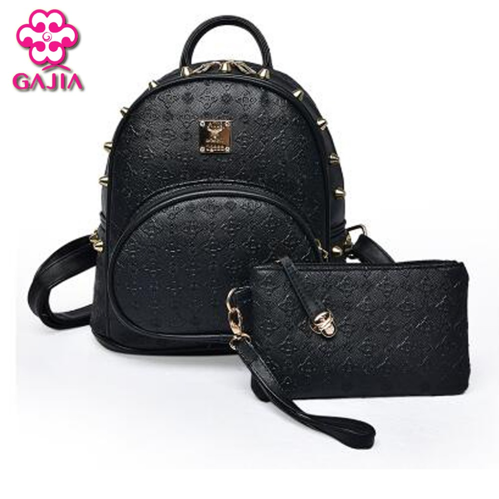 Hot Selling Fashion Japan And Korean Style Travel Women Backpack High Quality PU Rivet Leisure Shoulders