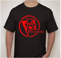 NO GODS NO MASTERS Slave Obey Atheist Anarchist Anarchy Symbol T Shirt Classic Cotton Men Round