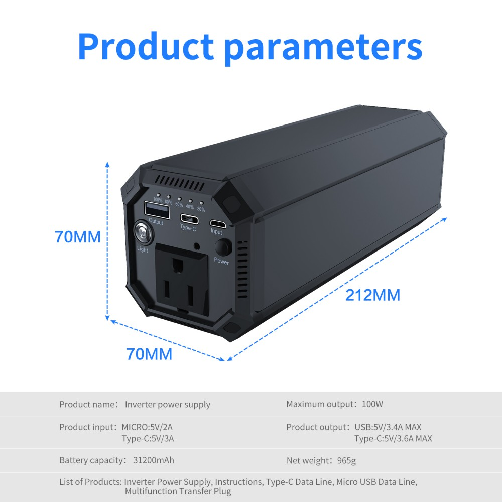 IP69 Inverter AC Power Bank with AC 100W Sine Wave & 17W USB & 18W Type-C Output 31200mAh Battery Built for 3-100W Appliance Use_Parameter