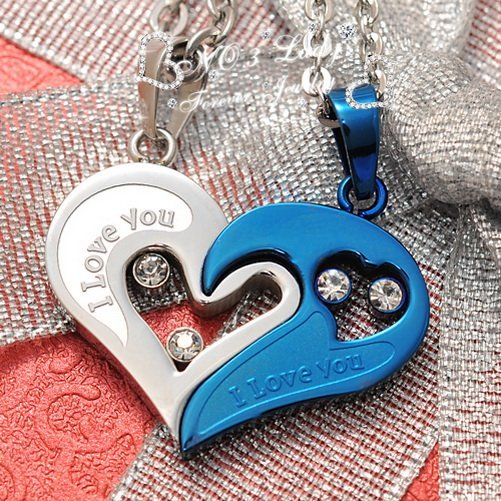 """I love you"" Stainless Steel Assembled Heart Couple Necklaces Pendant Korean Jewelry Fashion 2015, Wholesale,Free Shipping WP299"
