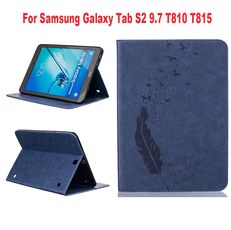New Pressed Feather Single Color Protective PU Leather cover Tablet cases For samsung galaxy Tab S2