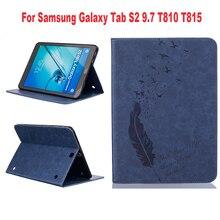 """Nueva Presionado Pluma Solo Color Protectora cubierta de Cuero de LA PU de la Tableta fundas para samsung galaxy tab s2 9.7 sm-t810 t815 9.7 """"tablet"""