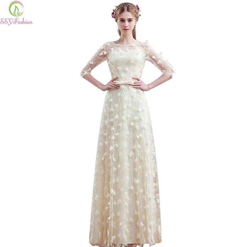 Ssyfashion Long Sleeve Wedding Dresses The Bride Elegant: Aliexpress.com : Buy Robe De Soiree SSYFashion Sweet