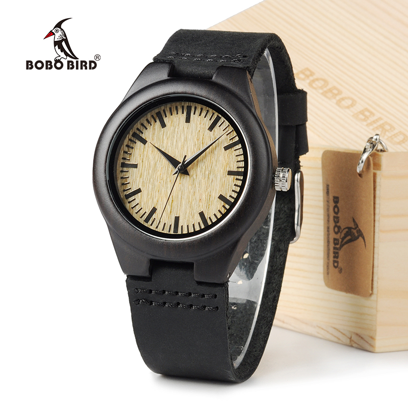 BOBO BIRD Ebony Wood Women Watch Brand Luxury Design Analog Quartz With Real Leather Strap In Gift Box bobo bird wh05 brand design classic ebony wooden mens watch full wood strap quartz watches lightweight gift for men in wood box
