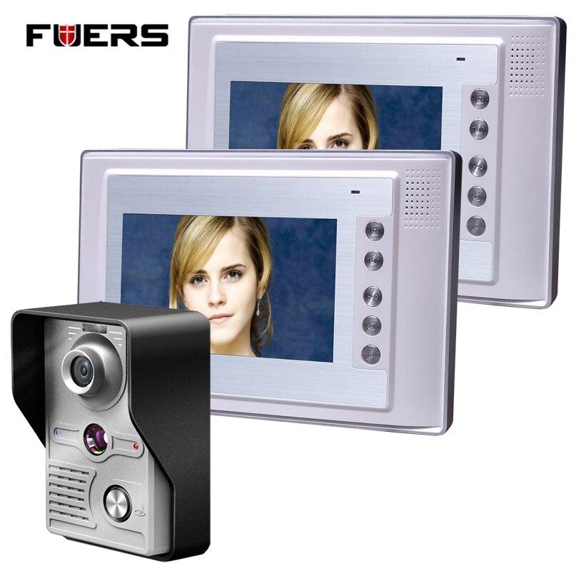Fuers 7 Inch Video Door Phone Doorbell Intercom Kit 1-camera 2-monitor Night Vision 7 inch video door phone doorbell intercom kit 1 camera 1 monitor