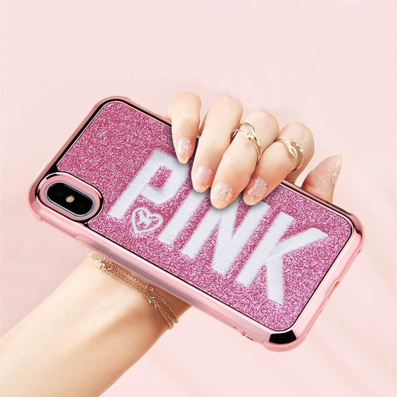 Cute 3D embroidery PINK glitter bling soft phone case for <font><b>iphone</b></font> 7 8 plus X XS MAX XR back <font><b>cover</b></font> for <font><b>iphone</b></font> 7 8 <font><b>6</b></font> 6S plus cases image