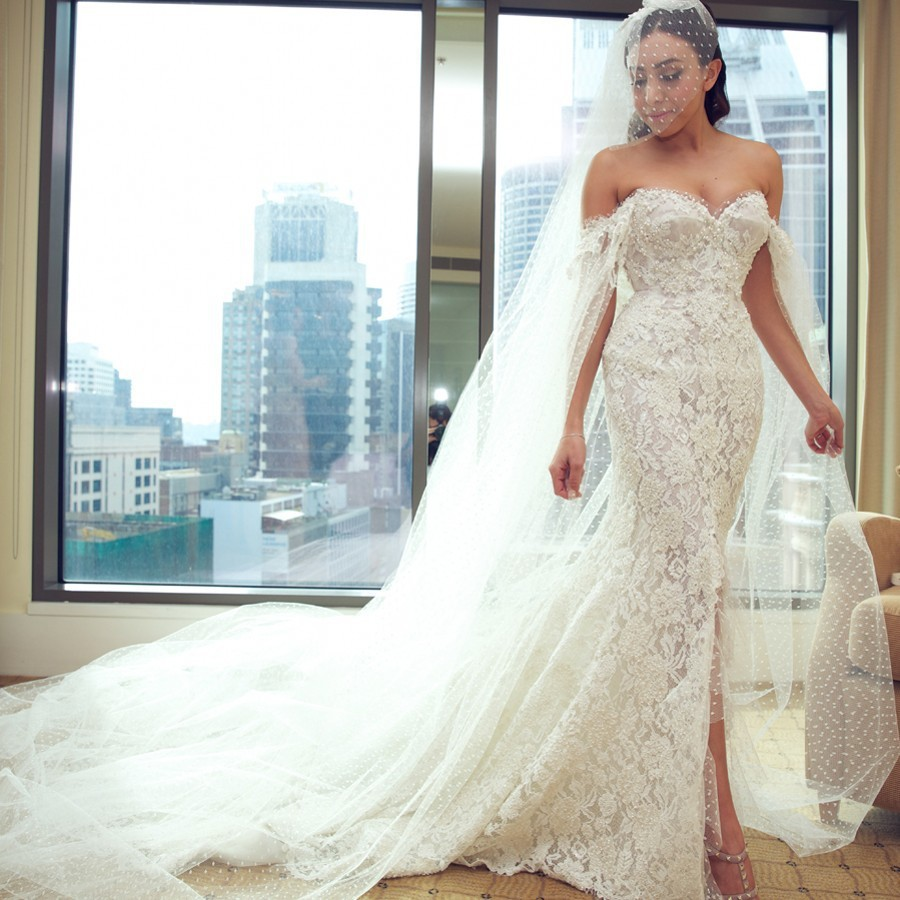 Luxury Mermaid Wedding Dress 2016 Lace With Pearls Capped Sleeves ...