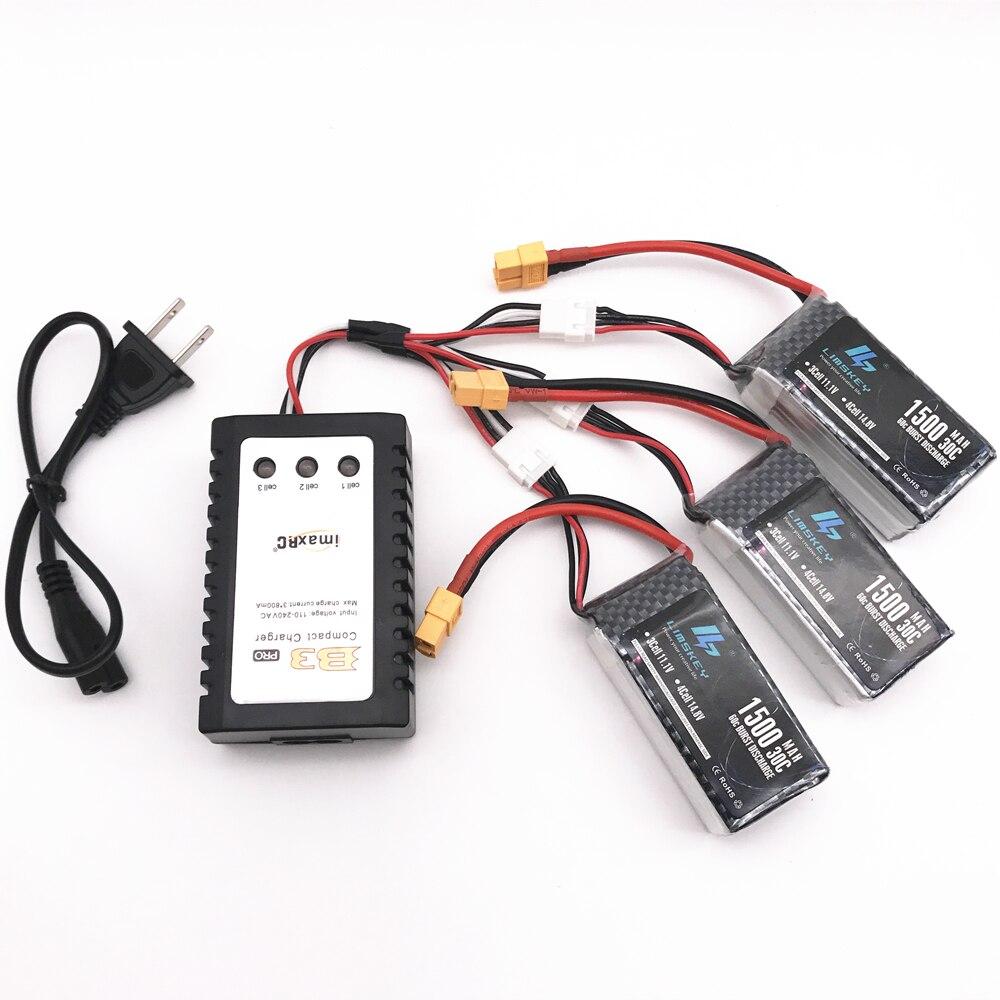 3 pièces Limskey LiPo batterie 11.1 V 1500 Mah 3 S 30C MAX 60C XT60 prise et 3in1 câble pour RC voiture avion WLtoys V950 hélicoptère