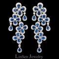 Nova chegada de luxo de azul / vermelho / branco Cubic Zirconia oscila brincos, Moda brincos para mulheres frete grátis