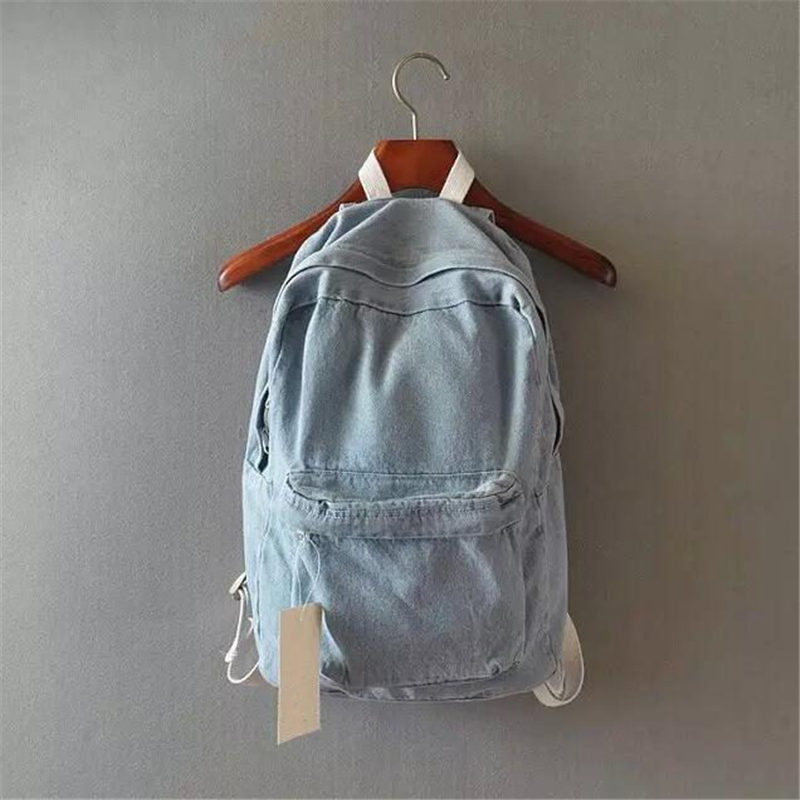 Japanese college wind denim backpack solid casual travel bag couple shoulder bag school bags for girls deep blue and light blue