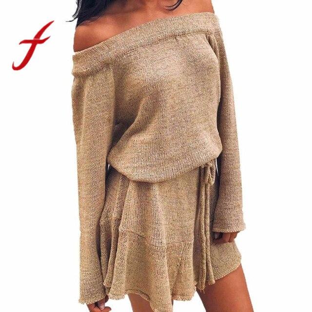 Feitong Autumn Winter Womens Ladies Dress Sexy Off Shoulder Long Sleeve  Jumper Knitted Sweater Dress vestidos femininos robe New 308df7641