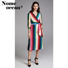 Oversized Midi Dresses Rainbow Striped Women s Dresses Three Quarter Sleeve  Belted Brand Dress 2018 Summer Plus Size M18040602 5416b1ea7f95