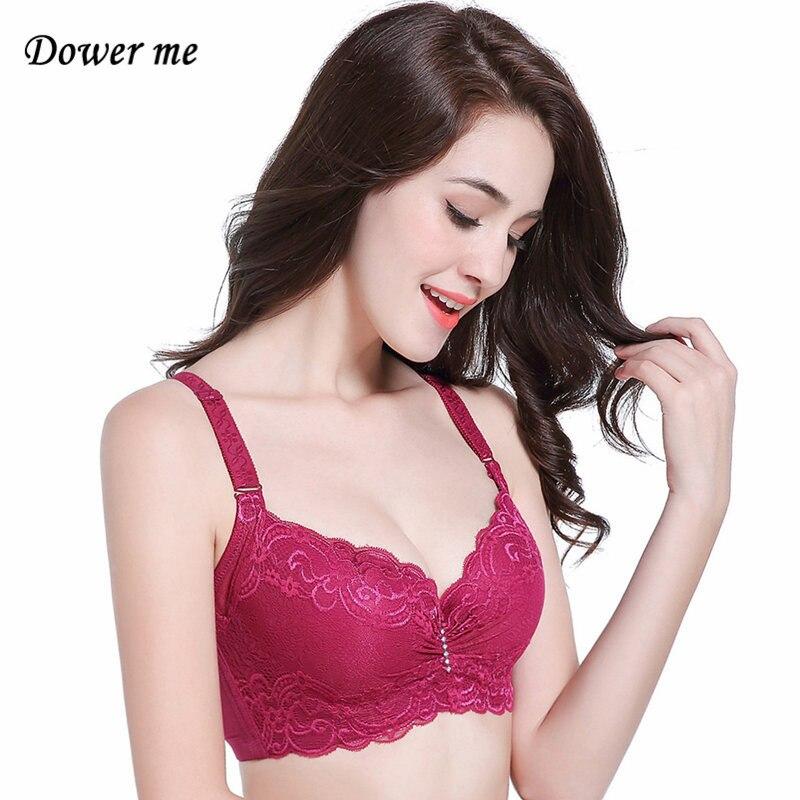 Dower me Plus tamaño Bra C D E Copa Rosa negro Push up ropa interior grande de cierre en la espalda de encaje ajustable sólido Lencería XNX001