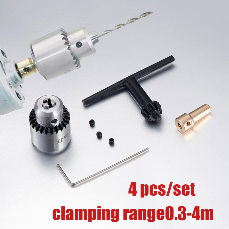 цена на Micro Motor Drill Chucks Clamping 0.3-4mm Jt0 Taper Mounted Drill Chuck With Chuck Key 3.17mm Brass Mini Electric Motor Shaft