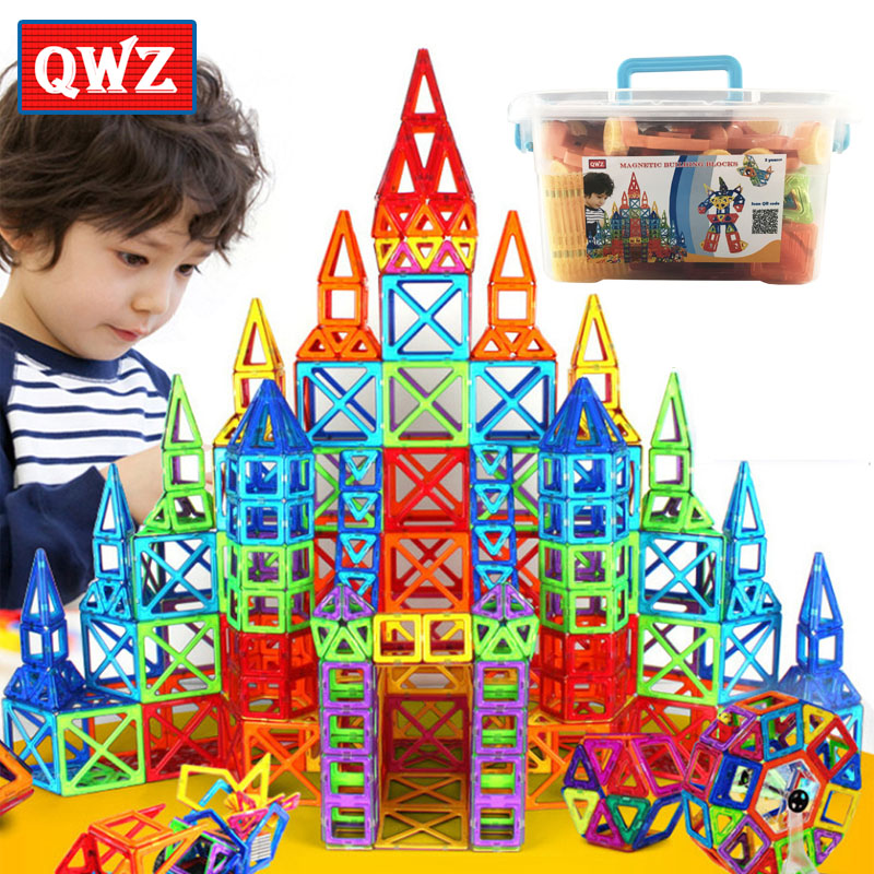 QWZ 252pcs Magnetic Blocks Mini Magnetic Designer Construction 3D Model Magnetic Blocks Educational Toys For Children Kid Gift magplayer 3d magnetic blocks assemblage 65pcs magnetic blocks magnetic model diy building blocks educational toys for children