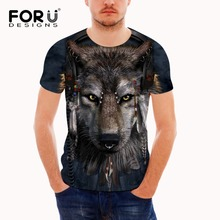 FORUDESIGNS Wholesale 3D Anime Wolf  Printing For Men Cool Tee Shirts Male Clothing Brand Tops Tees Fashion Short Shirt XXL