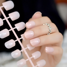 Fashion Aquoval Short Nude Pink Nail Tips False Nails Candy Light Artificial French Fake Salon Decorated Full Cover