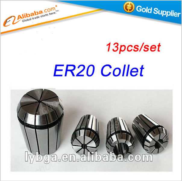 Hot sell cnc chuck 13pcs ER20 PRECISION SPRING COLLET for CNC milling lathe tool,cnc collet bt40 er20 70l milling chuck tool holder for cnc milling machine center