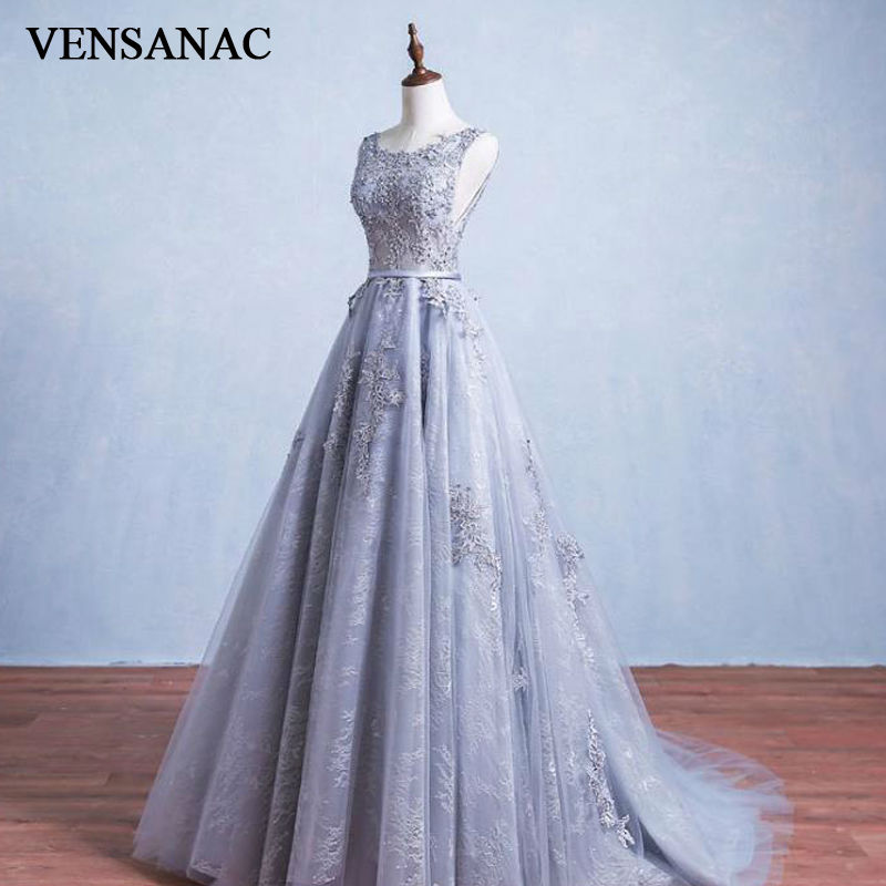 VENSANAC New A Line 2017 Elegant Lace Appliques O Neck Long   Evening     Dresses   Crystals Sleeveless Sweep Train Party Prom Gowns
