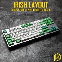 cherry profile Dye Sub Keycap Set PBT plastic green Irish layout royal typewriter colorway for gh60 xd64 xd84 xd96 tada68 87 104