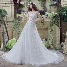 Simple Cheap Boho Wedding Dresses Lace 2018 Vestidos De Noiva V Neck A Line Handmade Bridal Gowns Sweep Train Robe Mariage