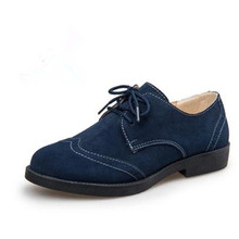 Flat with casual women's singles shoes British style retro genuine leather Oxford shoes zapatos mujer oxford suede shoes