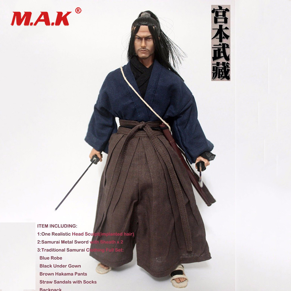 1/6 Scale Miyamoto Musashi Male Head Sculpt Model W Clothes Set For 12 Action Figure Male Nude Body Model Toys 1 6 male head sculpt deadpool ryan reynolds head sculpt figure model for 12 male action figure body