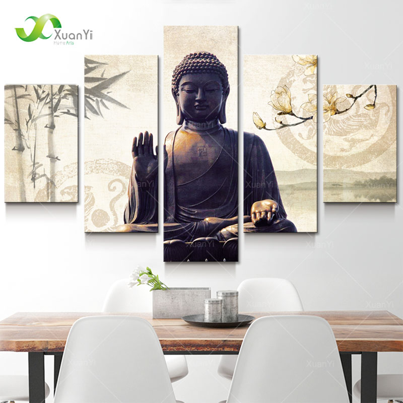 5 Panel Painting Buddha Canvas Wall Art Budas Cudaros Buda Canvas Buddha կտավ Ննջասենյակի համար Պատի զարդարանք Art Unframed