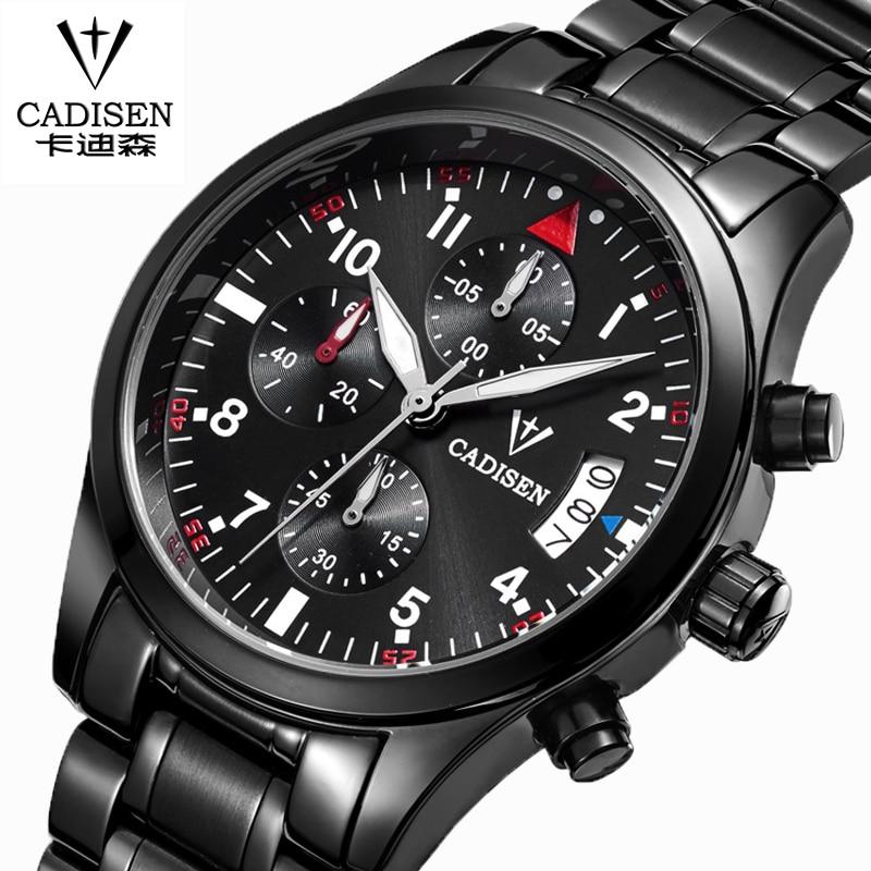 CADISEN Auto Date Watch Men Water Resistant Stainless Steel Men Watch Leisure and fashion Leather Winner Quartz Watch relogio