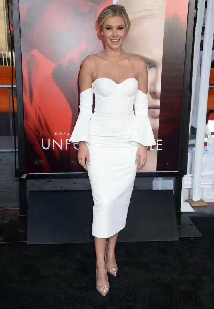 Fashion Blanc Couleur mollet Robe Bandage Noir Celebrity Moulante Tapis Hl Et Rouge Mi Sexy EIw5q