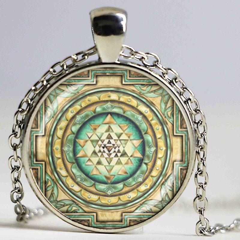 Sri Yantra Glass Dome Pendant Necklace DIY Handmade Sared Geometry Buddhist Reli