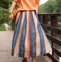 2019 Women Spring Summer Elastic Waist Colorful Striped Skirts ladies Ramie Stripe Skirt Female Retro Cotton Linen Skirt H90