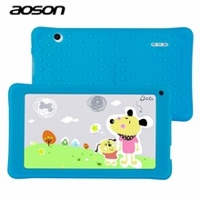 NEW AOSON 7 inch kids Tablet PC with silicon case HD 1024×600 512MB+8GB WiFi Bluetooth Dual Camera Android 4.4 A33 Quad Core