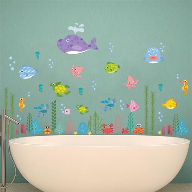 Underwater Bubble Starfish Star Tortoise Fish Wall Sticker Cartoon Wall  Decals Bathroom Decor Nursery Kids Room