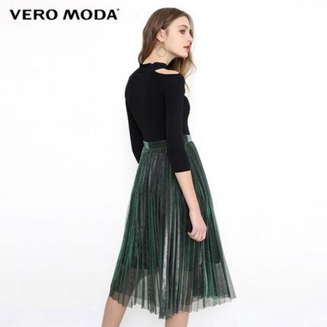 Vero Moda весеннее плиссированное платье с открытыми плечами и золотистыми шелковыми рукавами | 31817C545