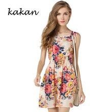 цены на Kakan summer new hot women's floral chiffon dress large size print sleeveless short dress fashion casual waist dress S-2XL в интернет-магазинах