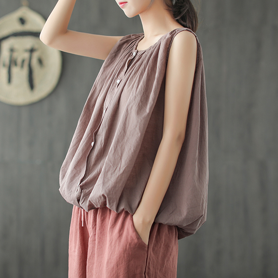 Women Cotton Linen Tees   Tanks     Tops   T Shirt Sleeveless for Ladies Fashion Casual Big Loose Oversized for Summer AZ44211517