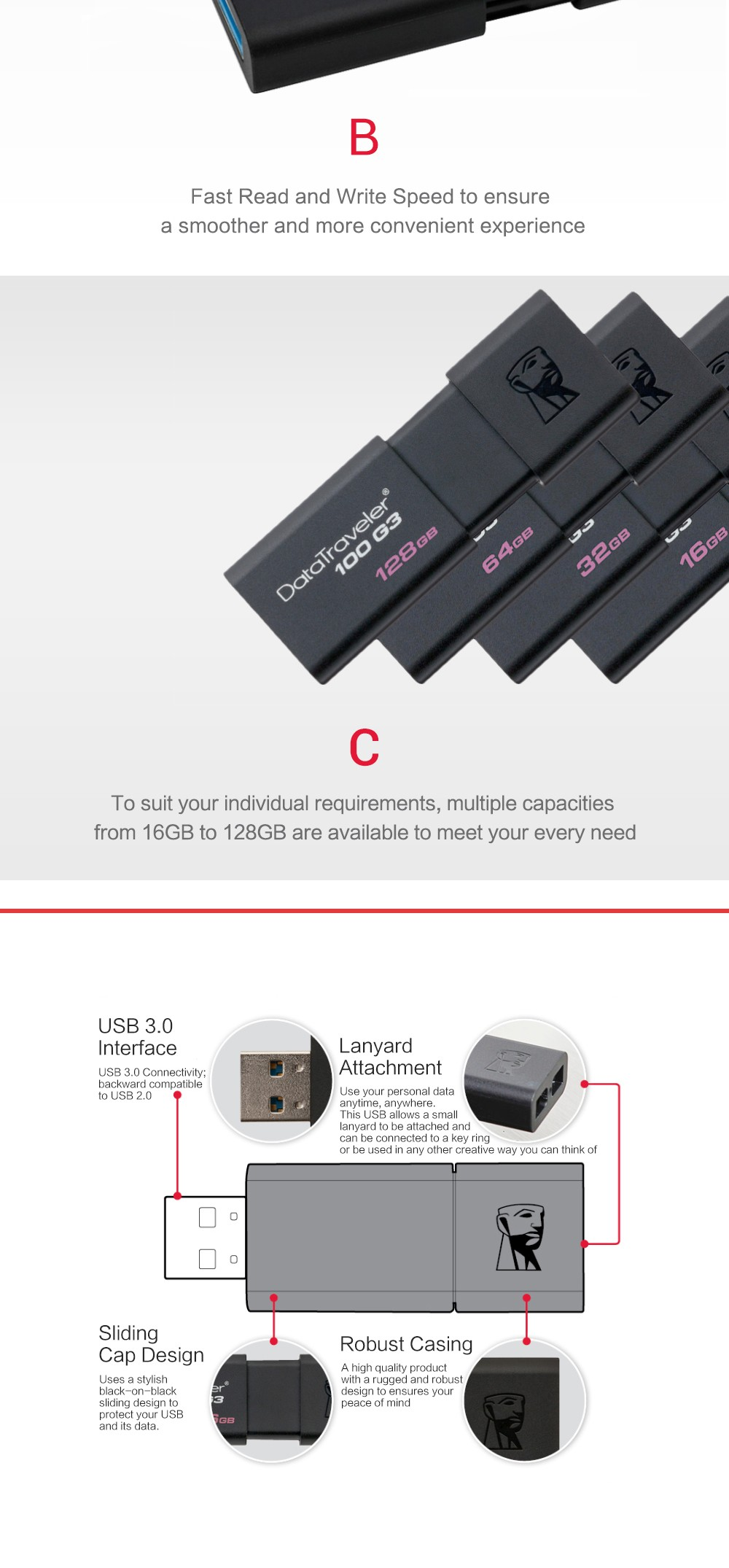 Kingston USB Flash Drives 8GB 16GB 32GB 64GB 128GB USB 3.0 Pen Drive high speed PenDrives DT100G3 7