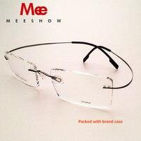 2016 New High Quality Meeshow Rimless Glasses Floding Memory Titanium 100 Pure Tianium Eyeglasses Myopia Optical