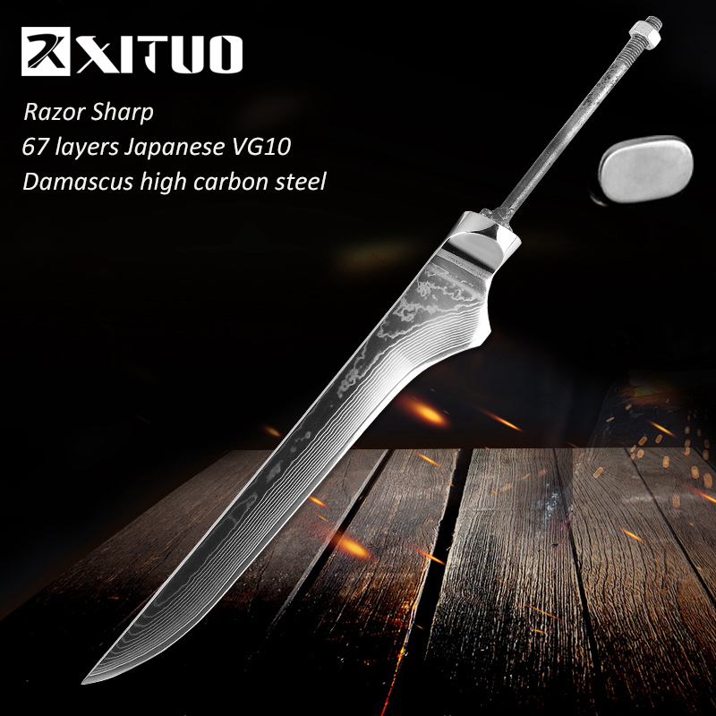 XITUO 6 Damascus Bone Cutter Blank Japan VG10 Damascus Steel Material DIY Handmade Forged Kitchen Chef Knife Tool AccessoriesXITUO 6 Damascus Bone Cutter Blank Japan VG10 Damascus Steel Material DIY Handmade Forged Kitchen Chef Knife Tool Accessories