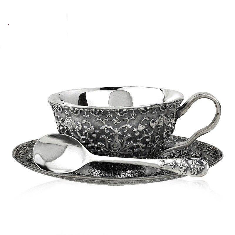 Ensemble de tasses à café en argent sterling | De haute qualité, cuillère en argent 999 retro business, service de vaisselle, cadeau