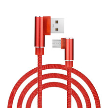 Right Angle 1M Hemp Rope Micro USB Universal Charger Cable Sync Data Cord Compatible With Android Smart Phone Charging Cables